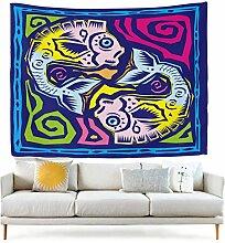 jstel Wandteppich für Colorful Ethnic Art 12Sternbild Horoskop Fische Wand Überwurf Wohnheim Decor Gobelin 152,4x 101,6cm, Polyester, blau, 90x60(in)