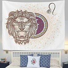 jstel Wandteppich für Elegantes Pink Star 12Sternbild Horoskop Leo Wand Überwurf Wohnheim Decor Gobelin 152,4x 101,6cm, Polyester, blau, 80x60(in)