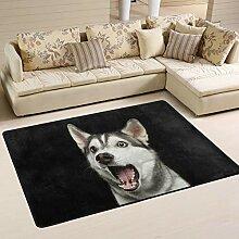 JSTEL Weicher Husky Teppich für Wohnzimmer, 90 x
