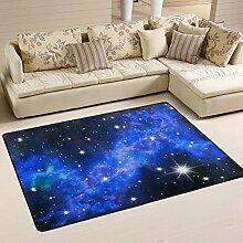 JSTEL Weicher Teppich mit Sternenhimmel, waschbar,