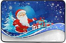 JSTEL Weihnachten Schneemann-Fußmatte waschbar