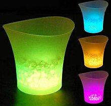JTHAO Farbwechsel LED Eiskübel, LED Kühler Eimer