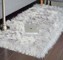 JTL Floorings Grauer Fellteppich, Faux Schaffell