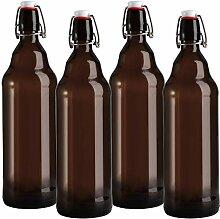 Jucoan 4 Stück bernsteinfarbene Glas-Flaschen mit
