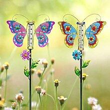 Juegoal Regenmesser Schmetterling Gartenstecker