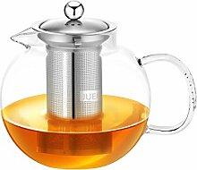 JUEQI Glas-Teekanne mit herausnehmbarem Teesieb,