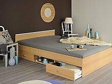 Jugendbett Bett 140x200cm mit 2 Bettkästen, Buche-Nachbildung, Doppelbett, Leader 4.1