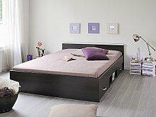 Jugendbett, Bett, 140x200cm mit 2 Bettkästen, kaffeefarben, Doppelbett, Leader 5.1