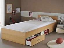 Jugendbett, Bett 90x200 cm Buche-Nachbildung mit 2 Bettkästen, Singlebett Kinderbett Leader 2.1