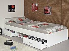 Jugendbett, Bett 90x200 cm weiss mit 2 Bettkästen, Singlebett Kinderbett Leader 1.1