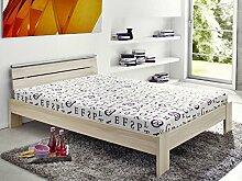 Jugendbett Cortina 140x200cm Buche-Nb, Bett komplett + Rollrost + Matratze, Singlebett Kinderbe