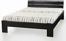 Jugendbett Cortina 140x200cm schwarz, Bett komplett + Rollrost + Matratze, Singlebett Kinderbe