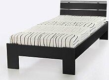 Jugendbett Cortina 90x200cm schwarz, Bett komplett + Rollrost + Matratze, Singlebett Kinderbe