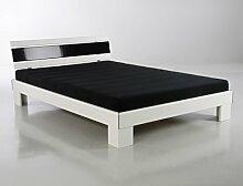 Jugendbett Ronja 140x200 weiß schwarz Bett komplett + Rollrost + Matratze Singlebett Gästebe