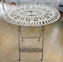 Jugendstil Gartenmöbel Tisch Altweiss Oval -