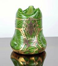 Jugendstil Glasvase mit Halterung aus Messing von