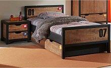 Jugendzimmer Bett in Braun Schwarz Kiefer