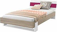 Jugendzimmer Futonbett in Holz Pink modern Breite 109 cm Liegefläche 100x200 Pharao24