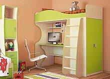 Jugendzimmer Hochbett Kombibett mit Schrank Schreibtisch 6565 birke / lime grün