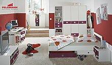 Jugendzimmer Kinderzimmer 574464 komplett 3-teilig weiß / brombeer