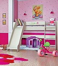 Jugendzimmer Kinderzimmer Hochbett Spielbett mit Rutsche 80 x 190 cm 65111 creme / rosa