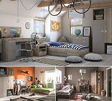 Jugendzimmer Kinderzimmer KARIBIK komplett Set B Schrank Bett 90x200 mit Schublade Schreibtisch Kommode Nachttisch NEU