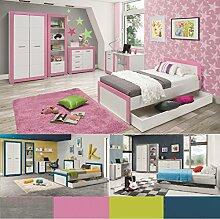 Jugendzimmer Kinderzimmer komplett 4TEEN Set B weiß & rosa,türkis,grau,grün, Farbauswahl Schrank Standregal Kommode Schreibtisch Bett 200x90 Wandregal