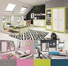 Jugendzimmer Kinderzimmer komplett 4TEEN Set C weiß & apfelgrün,grau,türkis,rosa, Farbauswahl Schrank Standregal Kommode Schreibtisch Bett 200x90 Wandregal
