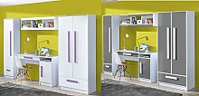 Jugendzimmer Kinderzimmer komplett Gerome Set A in 5 Farben Fronten hochglanz Schrank Schreibtisch Standregal Wandregal NEU