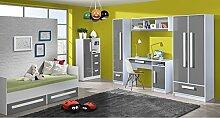 Jugendzimmer Kinderzimmer komplett Gerome Set C in 5 Farben Fronten hochglanz Schrank Schreibtisch Standregal Kommode Wandregal Bett 90x200 mit Schubladen NEU
