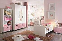 Jugendzimmer, Kinderzimmer, Komplett-Set, Jugendmöbel, Kleiderschrank, Bett mit Maßen, Nachtschrank, Kinderzimmer, Kindermöbel, 3-teilig, Mädchen