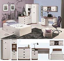 Jugendzimmer Kinderzimmer MARLEY komplett 7-tlg Set B Eckschrank Kommode Regal Schreibtisch Bett 90x200 mit Schublade