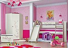 Jugendzimmer Kinderzimmer Set Hochbett mit Rutsche 80 x 190 cm 65113 creme / bordeaux