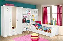 Jugendzimmer, komplett, Set, Jungen, Mädchen, Kinderzimmer, Jugendmöbel, Kindermöbel, 5-teilig, alpinweiß, Kleiderschrank, Schreibtisch, Be