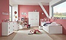 Jugendzimmer, komplett-set, Mädchen, Jugendzimmermöbel, Kinderzimmer, Kindermöbel, Kleiderschrank, Bett, 5-teilig, weiß, pink, rosa