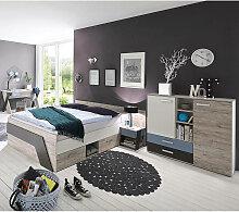 Jugendzimmer mit Bett 140x200 cm und Schreibtisch