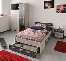 Jugendzimmer mit Bett 90 x 200 cm Esche/ grau mit