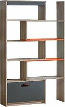 Jugendzimmer-Regal 80 cm breit, Farbe: Orange / Grau / Braun, für Kinderzimmer oder Jugendzimmer