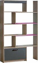Jugendzimmer-Regal 80 cm breit, Farbe: Rosa / Grau / Braun, für Kinderzimmer oder Jugendzimmer