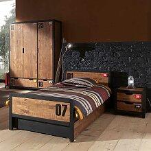 Jugendzimmer Set in Braun Schwarz modern (4-teilig)