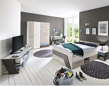 Jugendzimmer Set mit Bett 140x200 cm 5-teilig mit