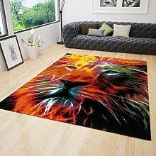 Jugendzimmer Teppich Modern mit Löwenkopf Muster