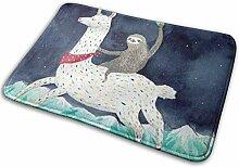 JUKA rutschfeste Fußmatten Sloth Riding Lama
