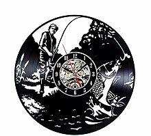 jukunlun Gone Fishing Vinyl Wanduhr Handgefertigte
