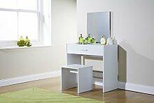 Julia weiß modernes Schminktisch Hocker Spiegel Set Aufbewahrungsbox Schublade Make Up Schreibtisch
