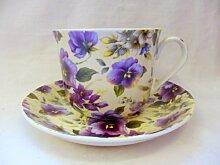 Jumbo-Becher und Untersetzer für Heron Cross Pottery., keramik, Purple Pansy, Jumbo