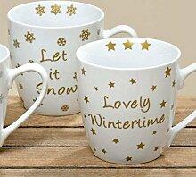 Jumbobecher - Winterzeit - Porzellantasse Kaffeebecher Tasse gold, 2er Se