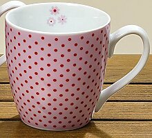 Jumbotasse Porzellan rosa, rot gepunktet Jumbobecher 400ml