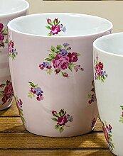 Jumbotasse Porzellan Rosen Jumbobecher 400ml Kaffeetasse rosa