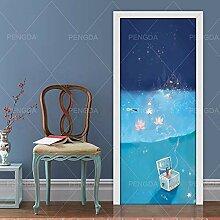 JuMei Door sticker Hd Tür Aufkleber Vinyl Blue